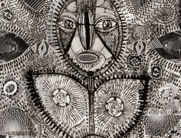 small black and white drawing with lots of cross hatched marks and a face