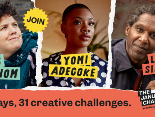 "Image is a rectangular, red graphic that reads ""Join Jess Thom, Yomi Adegoke, Lemn Sissay. 31 days, 31 creative challenges"" The text is on top of three pictures of Jess Thom, Yomi Adegoke and Lemn Sissay, with a rip effect between them."