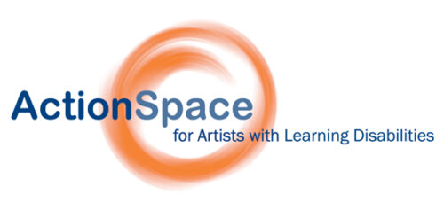 Action in dark blue next to Space in Pale blue. This is on top of an orange swirled circle. Text below reads: for Artists with Learning Disabilities.