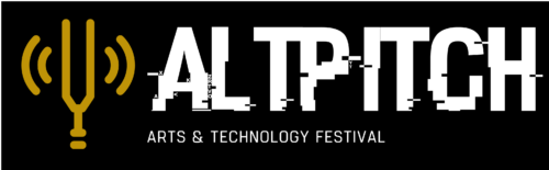 A yellow graphic if a tuning fork with sound waves coming from it. To the right white slightly distorted capital text reads: Altpitch. Below small white text reads: arts & technology festival.