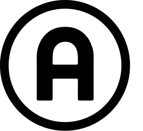 The image is a logo featuring the letter A inside of a circle. The letter and circle are black on a field of white. The letter has a curved shape.