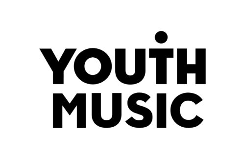 Youth Music Logo. Youth in capital black type above music , also in capital type. The dot of the i sits above the t in youth.