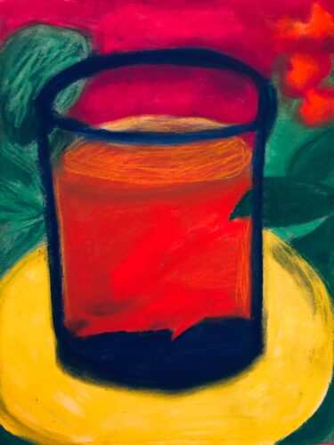 bright red image of a glass sitting on a bright yellow saucer