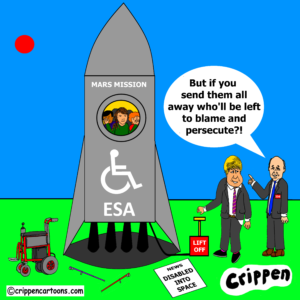 cartoon about ESA recruitment of disabled people