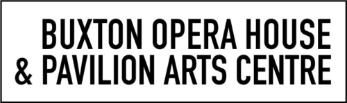 Buxton Opera House & Pavilion Arts Centre in black on a white rectangular background. The rectangle is framed with a thin black line.