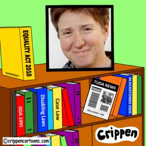 a headshot of Caroline Gooding's smiling face is framed by a cartoon bookshelf