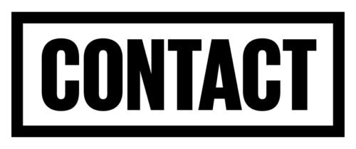 Contact in black bold capital text on a white rectangular background framed with a black outline.