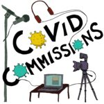 A square illustration on a white background of a microphone stand, a laptop on a coffee table, a camera on a stand and a set of headphones. Black writing reads: Covid Commissions. The O's are replaced by illustrations of covid molecules.