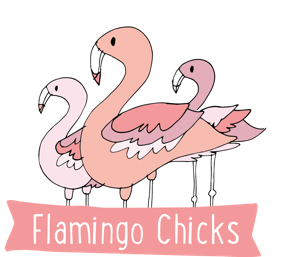 An illustration of 3 flamingos in various shades of pink above the caption Flamingo Chicks in white on a pink banner.