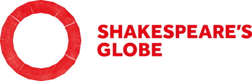 A large red outline of a circle next to red bold capital text that reads: Shakespeare's Globe.