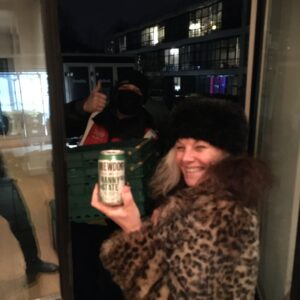 Liz with Nanny State Beer and Tesco Delivery Man