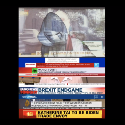 Film still showing a masked and hooded figure with multiple news media feeds projected onto it and the wall behind it.