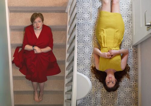 A white woman with blonde hair in a red dress lies on the stairs. A white woman with long brown hair in a yellow dress lays the opposite way round on the landing next to her.