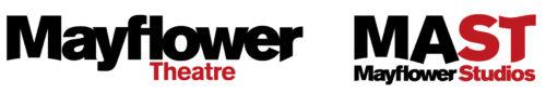 Mayflower Theatre and MAST Mayflower Studios logos in black and dark red