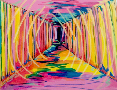 abstract artwork consisting of bright pinks and yellows