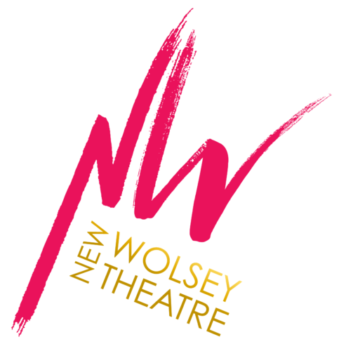 A bright pink 'N' and 'W' in painted writing and beneath it in gold is written 'New Wolsey Theatre'