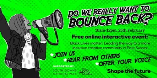 Promotional poster with details of the listing on a neon green background. There is a black and white drawing of a woman holding up a megaphone on the left.