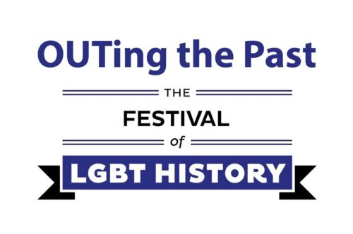 'OUTing the Past' in blue above 'The Festival of' in black. A blue and black ribbon sits below with white text within it that reads: LGBT History.