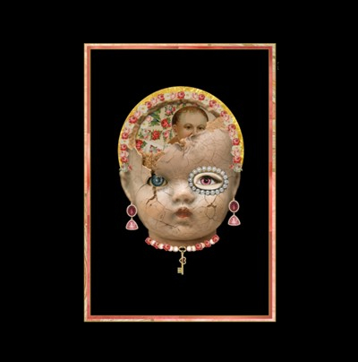 A collage made up of a dolls head with a ring of flowers around its crown and a key around its neck.