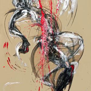 artwork of a black african figure against a beige background