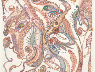 a predominantely red and blue pencil drawing of shapes and creatures being made out of the shapes
