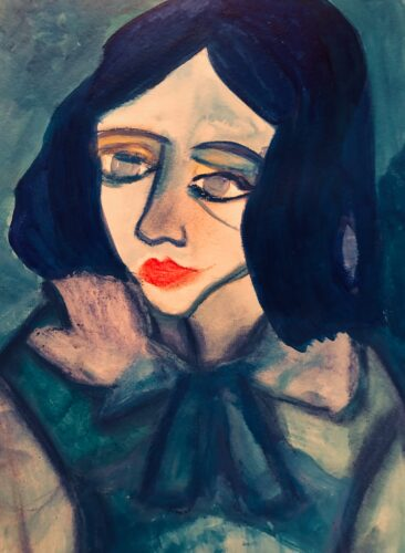 portrait of a young white woman with bright orange lips