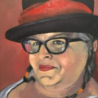 Oil painting self-portrait of a white-appearing woman wearing black rimmed glasses and black hat with red scarf band, smiling mischievously at viewer