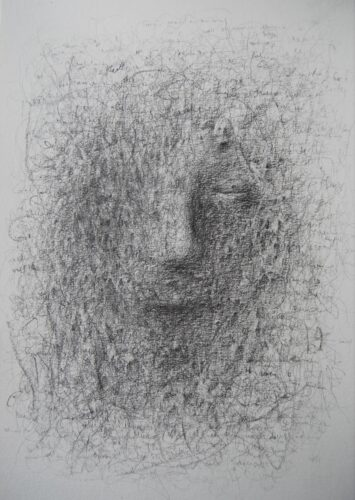 a pencil drawing of a face peeking out from lines overlaid and text overlaid