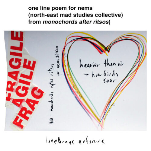 Collage featuring fragile tape, a heart and text which reads heavier than air - how birds soar