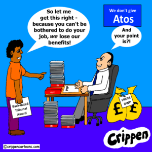 cartoon about Atos PIP back-log