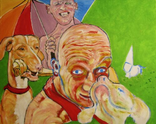 Oil portrait of two white males with a series of three dogs