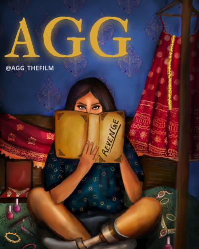 A young woman sits cross legged on her bed, showing that she has a prosthetic foot. She's surrounded by colorful wedding materials - a red lengha, nail polish, jewelry. But in front of her face is a book that reads...revenge!