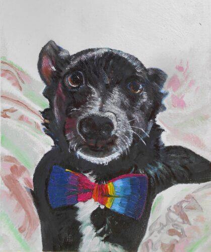 oil portrait of a black dog