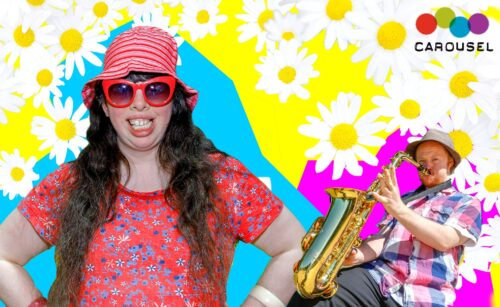 Image of people on flowered background