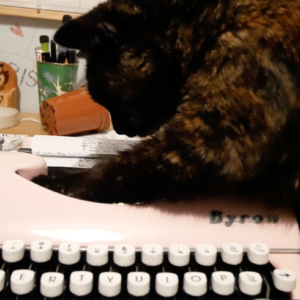 a tortoiuse shell cat reaches a paw into a pink type writer