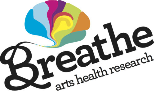 """Multicoloured Brain with the text """"Breathe Arts Health Research"""" below."""
