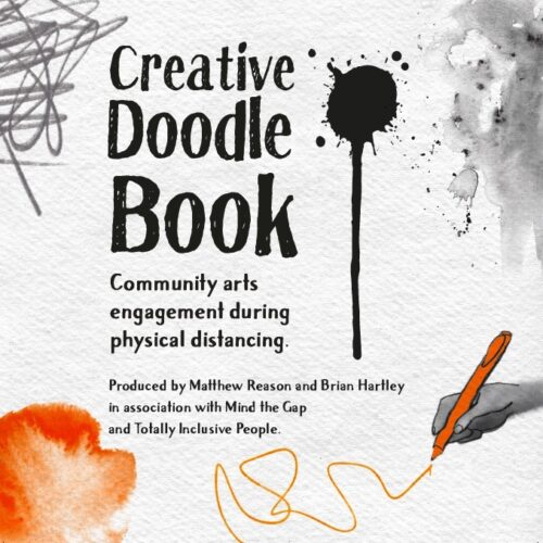 book cover with watercolour splashes with an image of a hand drawing a line
