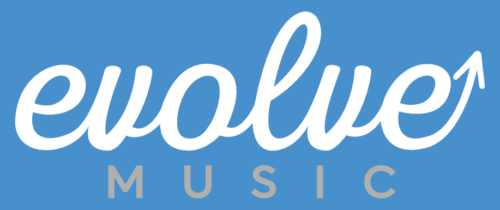 Evolve in white cursive text above Music in grey capitals. All on a blue background.