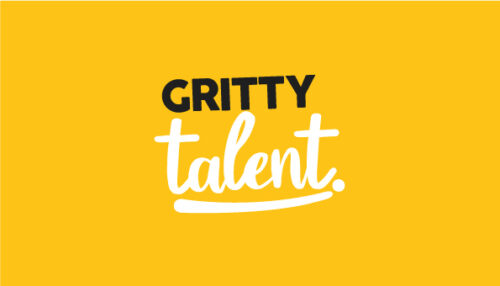 Gritty Talent logo. A yellow square with words Gritty talent in Black and white.