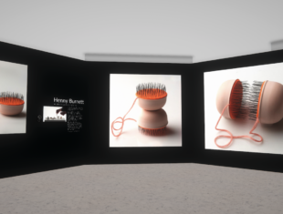 Digital artwork showing an online gallery with three large images of a sculpture consisting of semi-circular forms with hairs extending from an orange felt surface.
