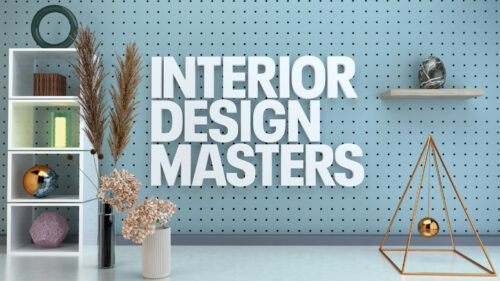 A blue pegboard wall with a set of shelves in front of it, 2 vases sit on the floor containing dried flower. A shelf sits in the wall. White large bold capital text overlaid on the wall reads: Interior Design Masters.