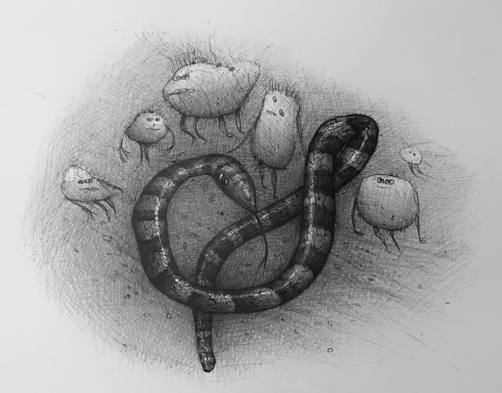 Pencil drawing of a snakes and small gremlin-like figures around it