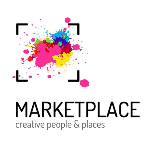 Multicoloured paint splatters within a square marked with black corners. Below text reads MarketPlace creative people and places.