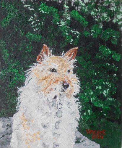 oil portrait of a white, fluffy dog