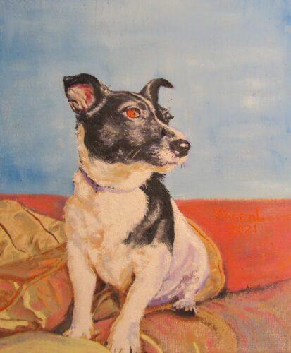 oil portrait of a spotty dog