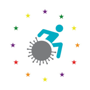 Graphic of a wheelchair-user riding a covid-shaped wheel