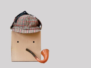 Amazon box with a pipe and deerstalker hat