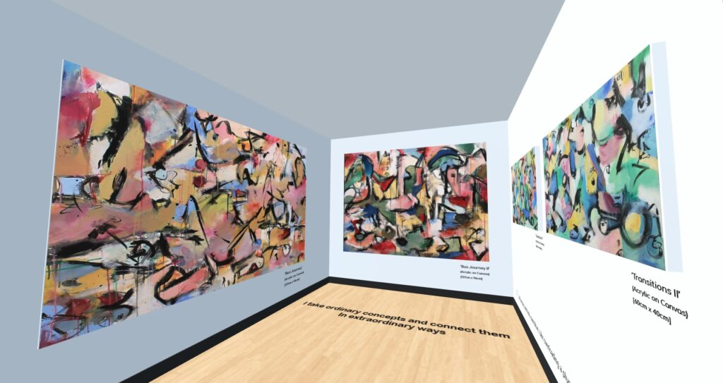 digital image of a gallery space with paintings on the walls
