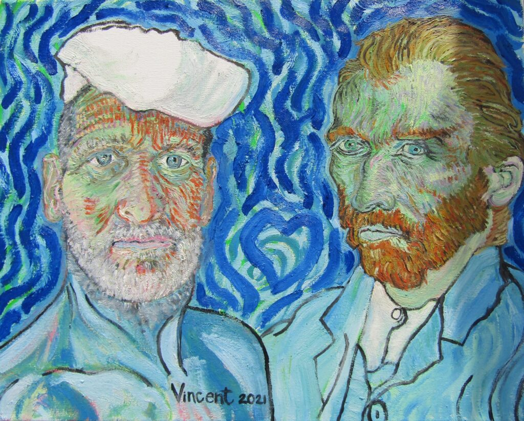 oil painting of vince laws next to vincent can gogh