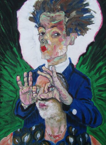 Oil portrait of the artist being held by Egon Schiele